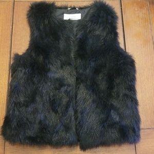 Caslon Faux Fur Vest Black Size S